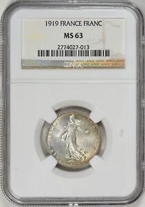 1919-France-Silver-1-Franc-MS63-NGC