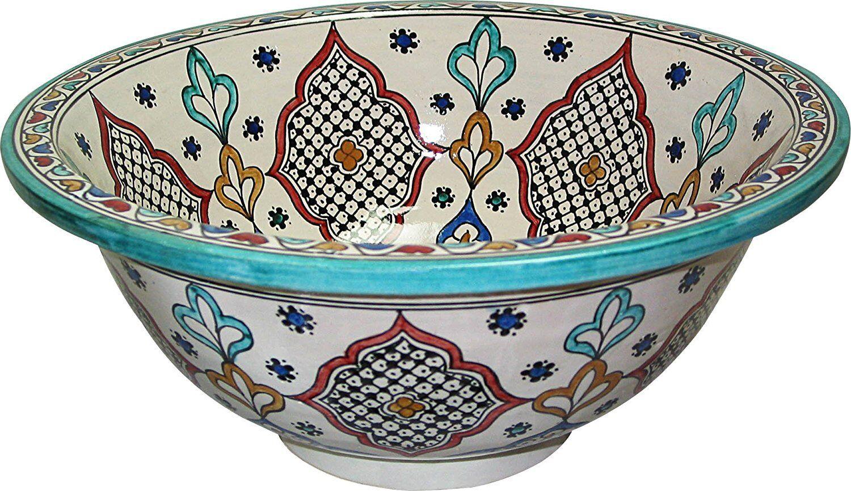 Fez en céramique peint à la main marocain Bathroom Sink bassin rond, DI 40 H 16 cm