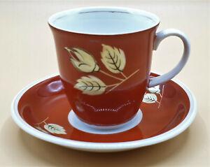 Coole-Porzellan-Mokkatasse-Espressotasse-Pari-Kunst-orange-60er-Jahre