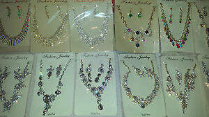 Joblot 12 pcs Faux Pearl /& Diamante sets Necklace /& earrings NEW wholesale lot 4