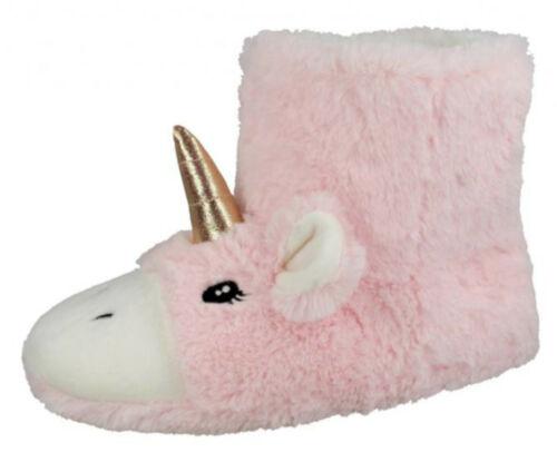 Womens Girls Pink Unicorn Slipper Boots Novelty Matching Mini Me Xmas Booties