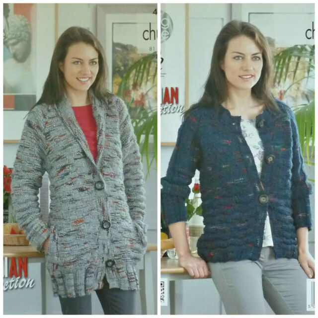 Knitting Pattern Ladies Long Sleeve Round Neck Cardigan Chunky King