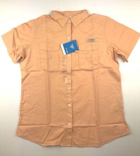 Columbia PFG Womens Large Bonehead ll Orange Short Sleeve Casual Button Shirt