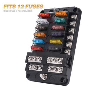 12-Circuit Automotive Blade Fuse Block Holder LED Indicator w/ Neg Max 32V  Box   eBayeBay
