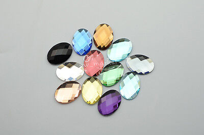 50 PCS 18mm X 25mm Glass Faceted Glass Oval Flat Back Jewels