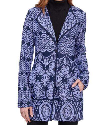 Women/'s Blue /& Violet Mix Print Long Sleeve Collar Jacket