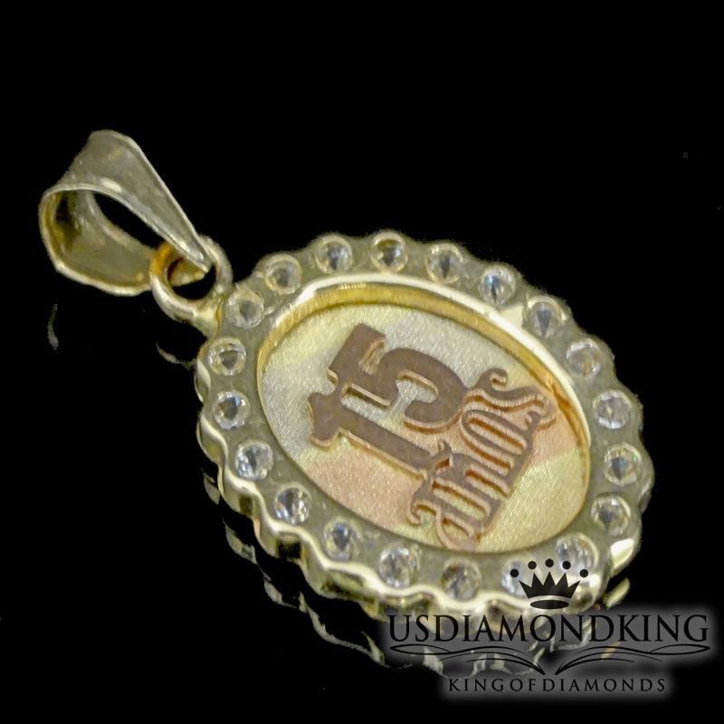 Ladies Women's 14k 100% 3 Tone gold 15 Birthday New Quinceanera Charm Pendant