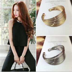 Women-Punk-Jewelry-Fashion-Charm-Multilayer-Open-Wide-Style-Cuff-Bracelet-Bangle