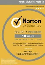 Symantec Norton Security Premium 3.0, + 25GB Backup, 10 Geräte - 1 Jahr, ESD, Do