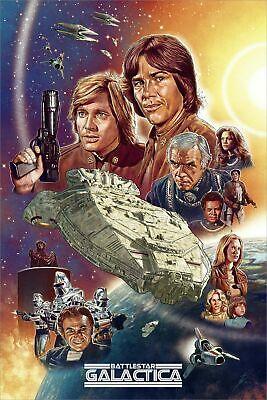 Con Exclusive Battlestar Galactica Neil Davies 2 Poster Print SET 16x24 Mondo