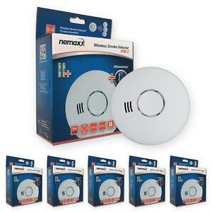 5x Rilevatori di Fumo senza fili Allarmi Rilevatore con Sensore Ottico e Termica