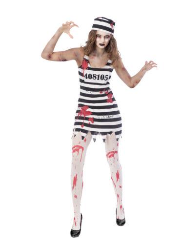 Adult Ladies Zombie Convict Halloween Prisoner Jail Fancy Dress Costume 8-18