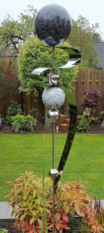 Beetstecker Skulptur  SATURN  160cm Gartendeko Gartenstecker Kugel Deko Geschenk