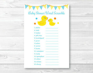 picture about Printable Baby Word Scramble identify Information over Rubber Duck Printable Little one Shower \