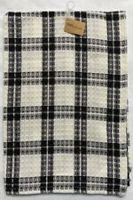 Salt /& Pepper Hand Towel Black Ivory Plaid Cotton Tab Top Park Designs