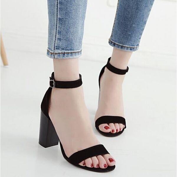 Sandales femmes Élégant talon carré 9.5noir affiné hauts confortable CW537