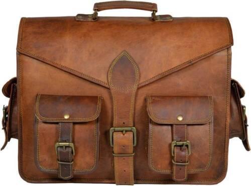"""15/"""" Men Genuine Vintage Brown Leather Messenger Shoulder Laptop Bag  Briefcase"""