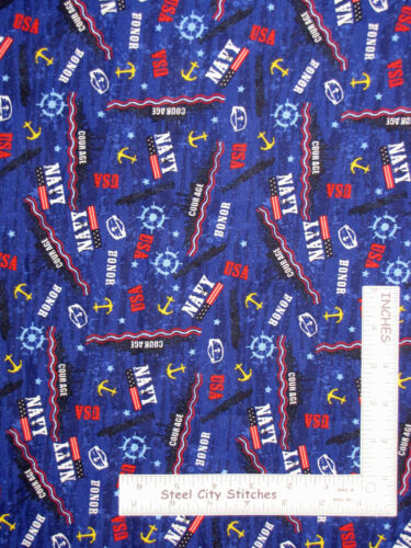 USA Military United States Navy Honor Courage Cotton Fabric Santee By The Yard
