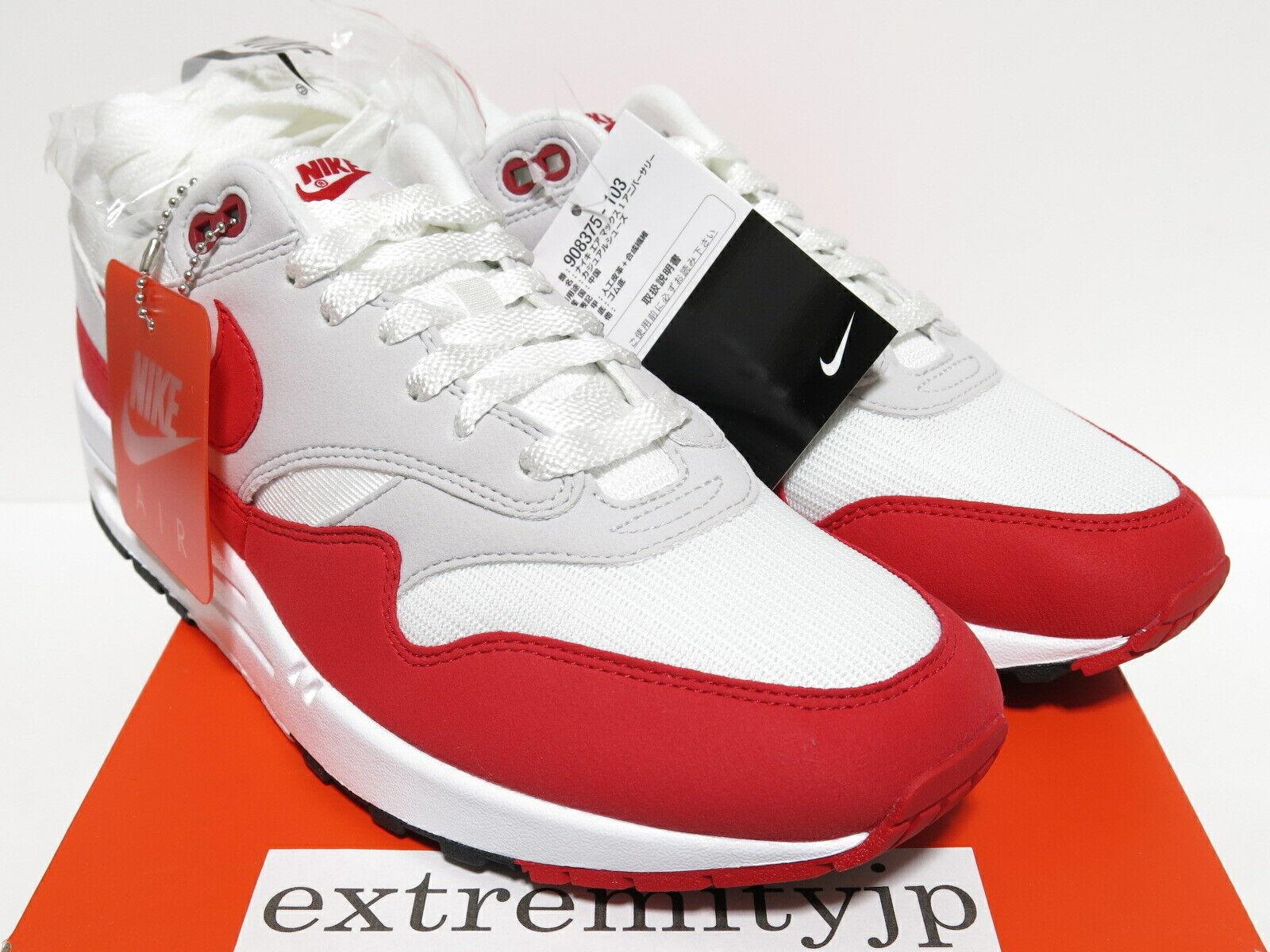 DS 2017 NIKE AIR MAX 1 ANNIVERSARY white university red 908375-103 sz 9