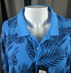 2XL-Chaps-shirt-Monsterra-Leaves-Blue-Ralph-Lauren