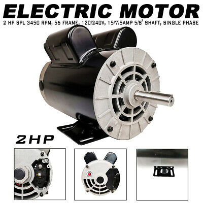 "2HP SPL Compressor Duty Electric Motor 3450 RPM 56 Frame 5//8/"" Shaft 120V//240V A+"