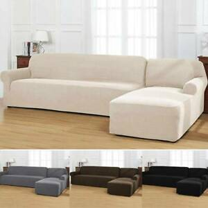 Awesome Details About 2Pcs Set L Shaped Sectional Sofa Cover Slipcover Left Chaise Main Sofa Chaise Spiritservingveterans Wood Chair Design Ideas Spiritservingveteransorg