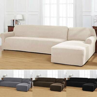 Cool 2Pcs Set L Shaped Sectional Sofa Cover Slipcover Left Chaise Main Sofa Chaise Ebay Uwap Interior Chair Design Uwaporg
