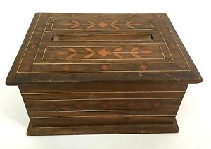 Mid-Century-Inlay-Wooden-Cigarette-Dispenser-Box-Hand-crafted-Beautiful