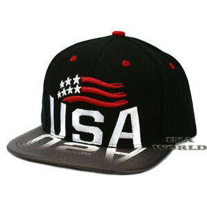 USA-American-Flag-hat-Snapback-USA-Reflected-Flat-Bill-Baseball-Cap-Black-Gray