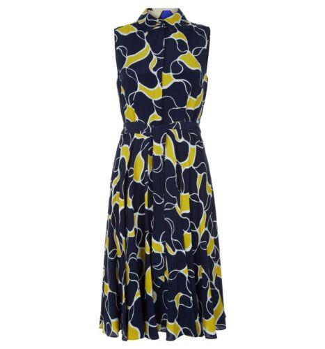 diverses tailles RRP £ 139. Hobbs Belinda Jaune Bleu Marine Robe