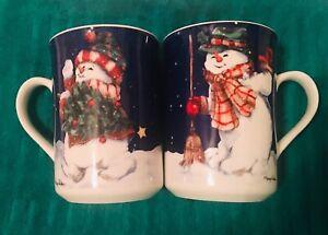 Thompson-Pottery-China-Christmas-Snowman-MUGS-CUPS-Set-Of-2