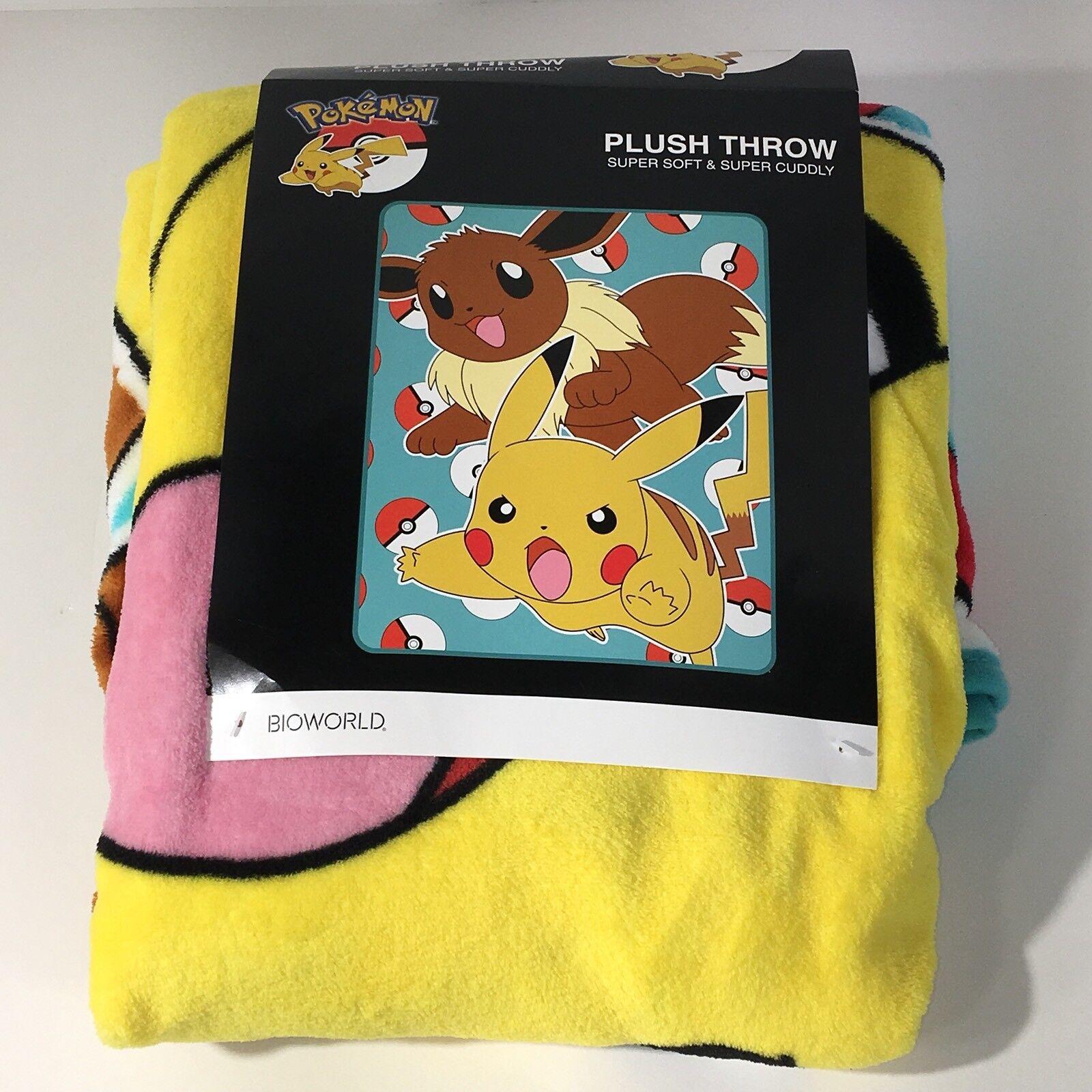 Pokemon Pikachu And Eevee Jump Plush Fleece Throw Blanket Pokeball Bioworld New
