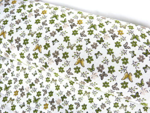 Tapis Tissu Coton Mix papillons fleurs crème vert vert clair MW 21012
