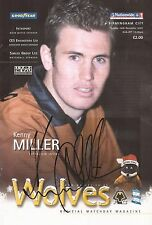 WOLVES: KENNY MILLER SIGNED 10x6 OFFICIAL MATCHDAY PROGRAMME PICTURE+COA
