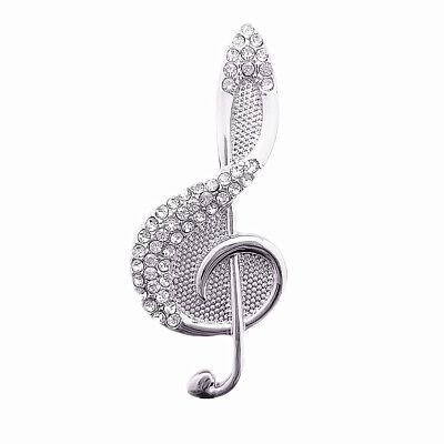 Sinnvoll Magnet Brosche Schal Poncho Taschen Strass Steine Anstecker Musik Note Silber Eine GroßE Auswahl An Waren