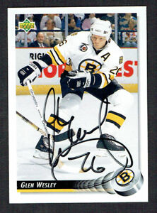 Glen-Wesley-244-signed-autograph-auto-1992-93-Upper-Deck-Hockey-Card