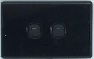 BLACK-2-Gang-Switch-Slim-Line-SLIM-Wall-Light-Switch-Wall-Plate-Upmarket-10-Amp