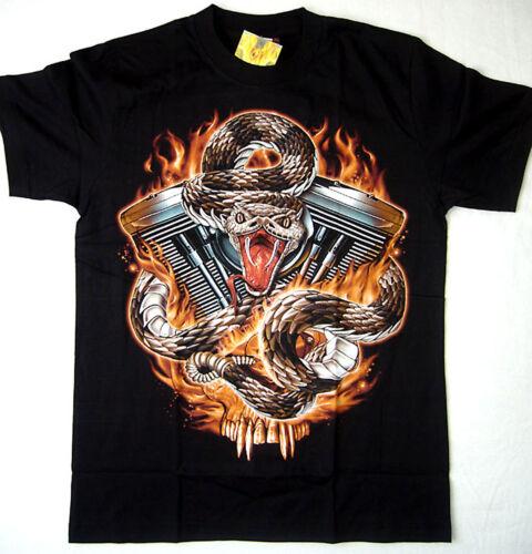 Biker T-shirt Chopper v2 Twin machines M L XL XXL Serpent streetwaer Noir