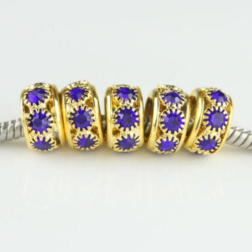 5pcs Czech Crystal Gold Big Hole Spacer Charm Beads for European Bracelet 10mm