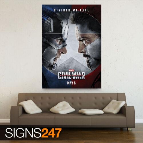 MARVEL CAPTAIN AMERICA CIVIL WAR 2016 MOVIE 1081 Poster Print Art A1 A2 A3 A4