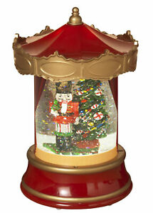 Classic-Holiday-Carousel-Shaped-Christmas-Winter-Scene-Spinning-Water-Snow-Globe
