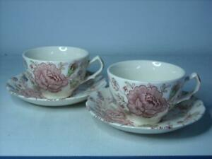 TWO OF Johnson Brothers ROSE CHINTZ Cup and Saucer Pair of Cups Saucers