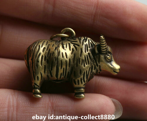 """1.4/"""" Curio Chinese Bronze Zodiac Animal Bull Oxen Cattle Ox Small Statue Pendant"""