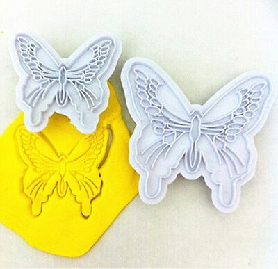 2X New Butterfly Cake Fondant Decorating Sugarcraft Cookie Plunger Cutters Mold!