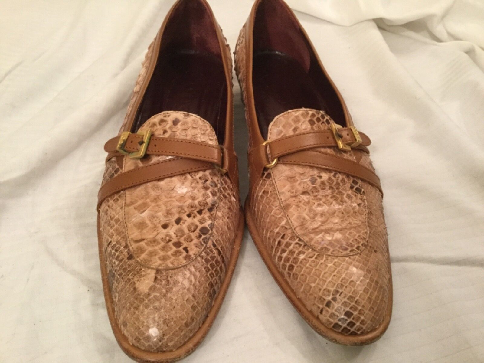 Tod's Brown Python Snake Skin Slip on shoes shoes shoes Size 7.5  Italian 06194a