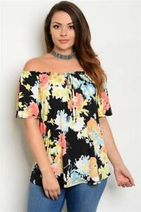 211efdf2fdaa43 NEW..Stylish Plus Size Floral Print Off the Shoulder Bardot Style Top ...