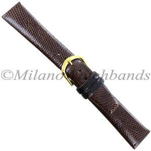 18mm-Gilden-Brown-Luxury-Genuine-Lizard-Heavy-Pad-Unstitched-Mens-Watch-Band-Reg