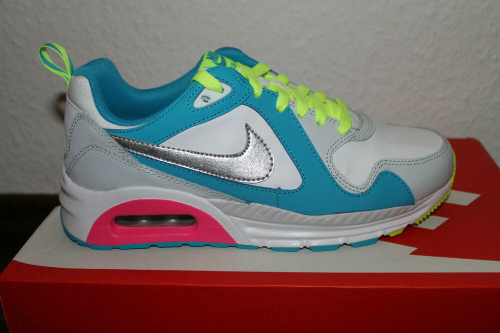 Nike Air Max trax Femmes fonctionnement chaussures Blanc Argent Bleu taille 38 ou 38,5 NEUF-