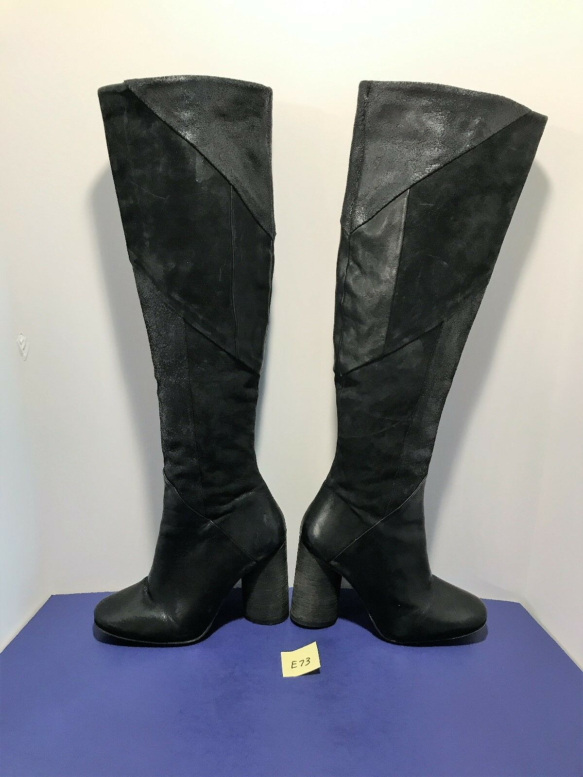 NEW Black Black Black FREE PEOPLE 'Bright Lights' Patchwork OTK Tall Boots Suede Leather E73 b72ad6