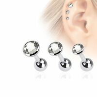 16g Cartilage Body Jewelry With Clear Gems Pack Of 3
